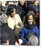 Michelle Obama And Daughters Malia Canvas Print