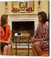Michelle Obama And Queen Silvia Canvas Print