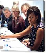 Michelle Obama Attends A Meeting Canvas Print
