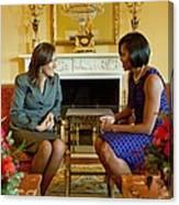 Michelle Obama Greets Mrs. Margarita Canvas Print