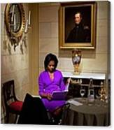 Michelle Obama Prepares Before Speaking Canvas Print
