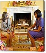 Michelle Obama Talks With Elizabeth Canvas Print