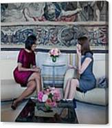 Michelle Obama With Carla Bruni-sarkozy Canvas Print