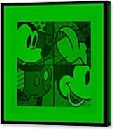 Mickey In Green Canvas Print