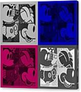 Mickey In Quad Colors Canvas Print
