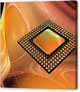Microprocessor Chip, Artwork Canvas Print