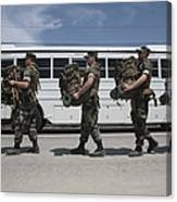 Midshipmen Carry Their Packs And Board Canvas Print