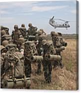 Midshipmen Watch As A U.s. Marine Corps Canvas Print