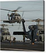 Military Helicopters Land On The Flight Canvas Print