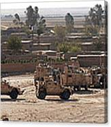 Military Vehicles Parked Outside Loy Canvas Print