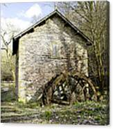 Mill And Water-wheel Near Ashford-in-the-water Canvas Print