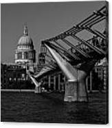 Millenium Bridge And St Pauls Cathedral Canvas Print