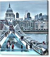 Millennium Bridge And St Paul's Cathedral Canvas Print