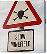Minefield Road Sign Falkland Islands Canvas Print