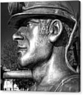 Miner Statue Monochrome Canvas Print
