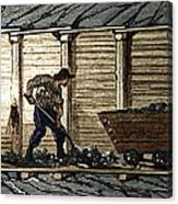 Miners In A Timbered Tunnel Canvas Print