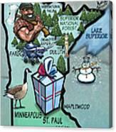Minnesota Cartoon Map Canvas Print