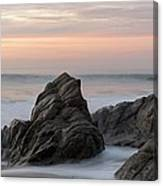 Mist Surrounding Rocks In The Ocean Canvas Print