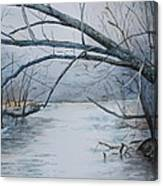 Misty Morning On The Red River Canvas Print