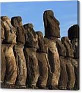Moai Along The Coast Of Easter Island Canvas Print