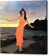 Model In Orange Dress II Canvas Print