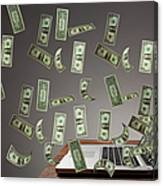 Money From Getting Out From Computer Canvas Print