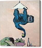 Monkey Stealing An Apple Canvas Print