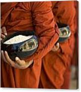 Monks With Rice Bowls, Inle Lake Canvas Print