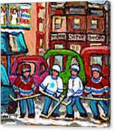 Montreal Bagels And Hockey Canvas Print