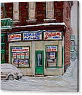 Montreal Corner Market Winter Scene Canvas Print