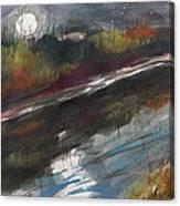 Moon From Washington Crossing Pa Bridge Canvas Print