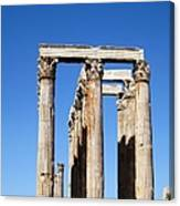 Moon Over Corinthian Columns Of The Temple Of Olympian Zeus Ancient Greek Architecture Athens Greece Canvas Print