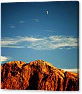 Moon Over Red Rocks Garden Of The Gods Canvas Print
