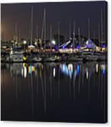 Moon Over The Marina Canvas Print