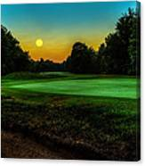 Moon Setting Over The Green Canvas Print
