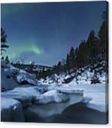 Moonlight And Aurora Over Tennevik Canvas Print