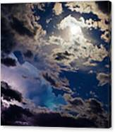 Moonlit Clouds With A Splash Of Lightning Canvas Print