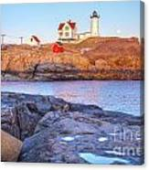 Moonrise At Nubble Light  Canvas Print