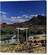 Moonrise Over Grand View Ranch Canvas Print