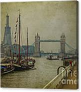 Moored Thames Barges. Canvas Print