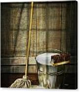Mop With Bucket And Scrub Brushes Canvas Print