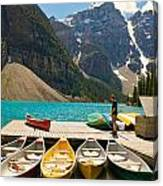 Moraine Lake - Banff National Park - Canoes Canvas Print