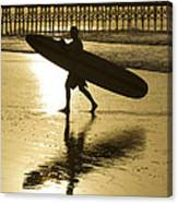 Morning Session Longboard Surfing Folly Beach Sc  Canvas Print