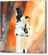 Moroccan Woman Carrying Baby Canvas Print