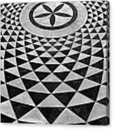 Mosaic Black And White Floor Canvas Print
