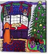 Moses And Barkley On Christmas Eve Canvas Print