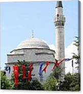 Mosque And Flags Canvas Print