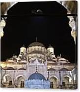 Mosque Yeni Camii At Night Canvas Print
