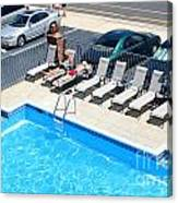 Motel Pool And Surroundings Canvas Print