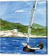 Moth Sailing At Castle Hill Light Canvas Print